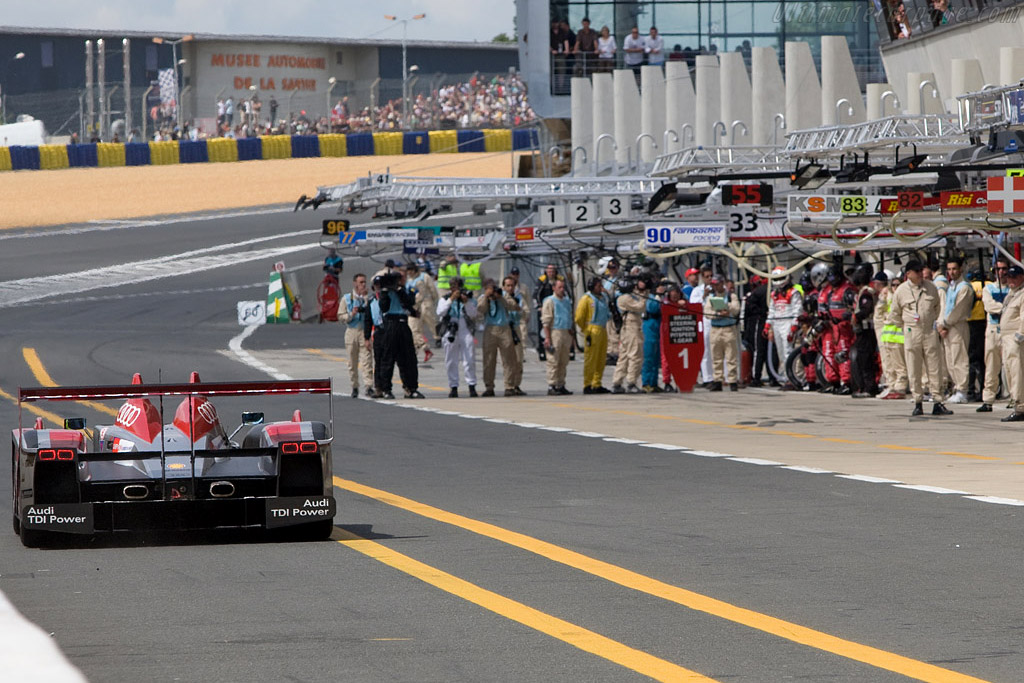The #1 Audi heading for a battery of media and mechanics - Chassis: 301 - Entrant: Audi Sport North America  - 2008 24 Hours of Le Mans