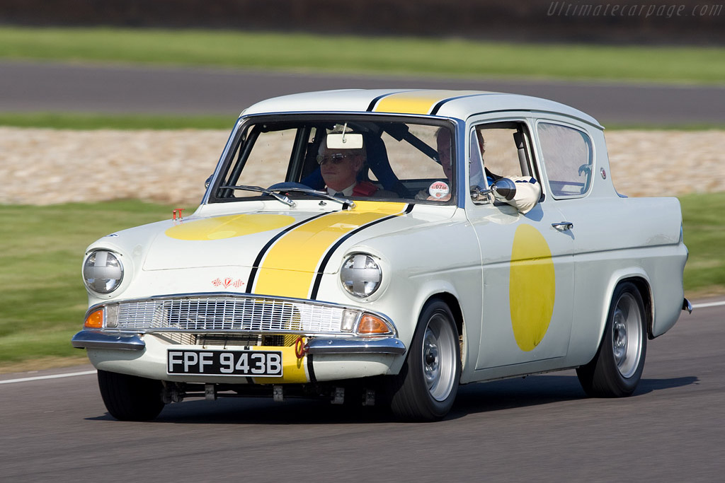 Peter Procter in an Anglia he raced at Goodwood    - 2008 Goodwood Revival