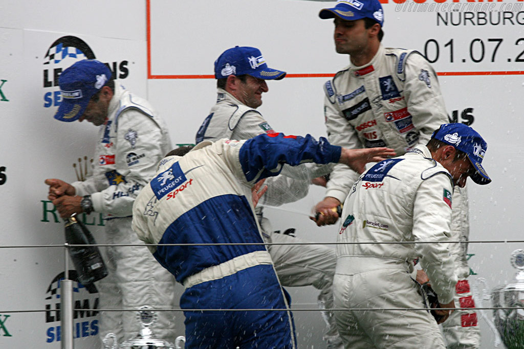 The Peugeot boys celebrating    - 2007 Le Mans Series Nurburgring 1000 km
