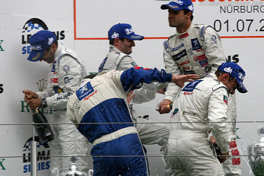 The Peugeot boys celebrating    - 2007 Le Mans Series Nurburgring 1000 km